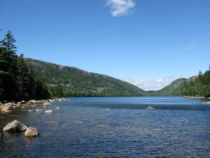 This gorgeous pond is flanked on the west by Penobscot Mountain and on the northeast by the two mountains known as The Bubbles.