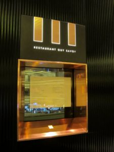 The menu - The reflection in the glass is the enormous Marina Bay Sands casino.  Unfortunately, we weren't allowed to photograph it.