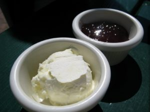 Soft sweet butter and heavenly strawberry jam to accompany the popovers.