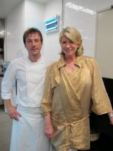 We visited the spacious kitchen. Here I am with famed head chef Eric Bost.