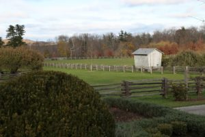 A view of the corn crib - not too many leaves left on the landscape.
