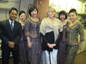 The airline crew was fabulous and very well dressed.