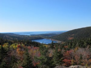 The gorgeous view of Upper Hadlock Pond the the Atlantic from the summit, of course!