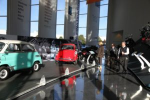 Inside the Zentrum, the BMW museum, there are many retro models on display.