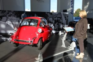 This red 1955 Isetta bubble car reminded me of driving through Europe on my honeymoon many years ago.  You enter through the front.