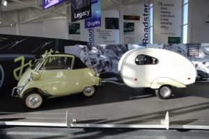 Another Isetta bubble car with a tiny sleeping trailer