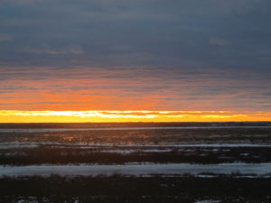 A spectacular sunset over the tundra in Churchill Canada.