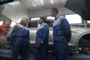 Tanya, the Paint Manager, explained to me that every car is sprayed with a total of five coats of paint.