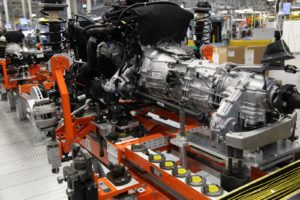 An assembly line of powertrains