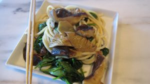 With the Chinese noodles plated atop the wilted spinach and then topped with the sauteed shiitake, I made myself quite a spectacular and healthy lunch!