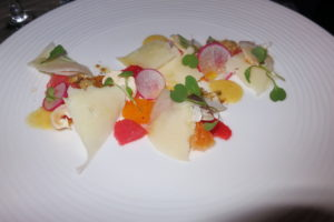 Another gorgeous plate of grapefruit slices, shaved radish, delicious cheese, and cress