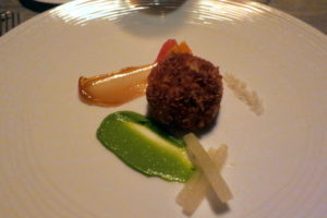 And a Gulf crab cake with puree of pea and quince