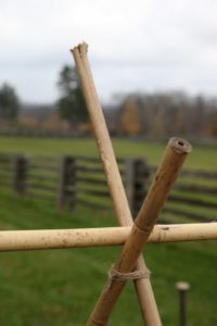 Another way to fasten the bamboo is to tie it together with garden twine.