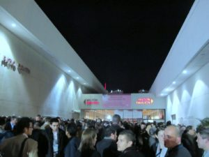 The huge line for the Microsoft Keynote formed outside the Las Vegas Hilton.