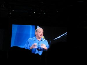 Steve Ballmer, CEO of Microsoft, began the presentation.   Ballmer, has been with Microsoft since 1980, and is well-known for his charisma on stage.