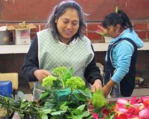 These ladies make cheerful and very affordable flower arrangements.