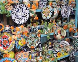 Bright and cheerful hand painted pottery for the homes in San Miguel de Allende