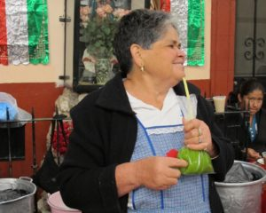 And this woman was sipping a favorite drink of juiced nopales leaves.