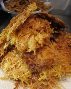 Also fried are potato pancakes, which are served with fresh crab and salsas.