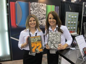 Allison and Caitlin from M-Edge displayed some very cool covers for your iPad and Kindle, that can be personalized.