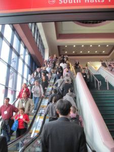 Attendees crammed the escalators.