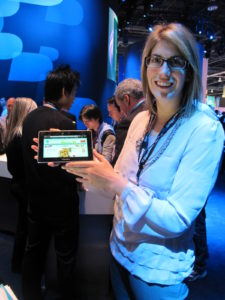 Brenna showed off the new Blackberry Playbook.