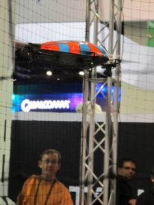 The Parrot AR Drone Quadricopter in flight - it can be controled from your iPhone.