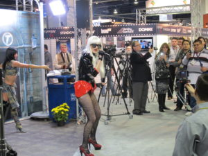 A Lady Gaga impersonator - The real Lady Gaga was actually at the Polaroid display.