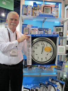 Dick Northford from La Crosse technologies alongside one of my favorite clocks, which I have hanging in my house.  It's an atomic clock.