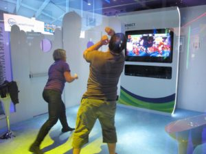 There was a demo of the Microsoft Kinect - these folks were enjoying an energetic round of boxing.