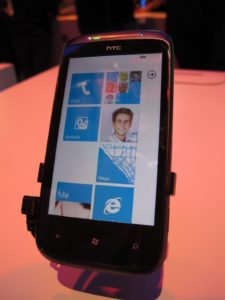 There are many different varieties of new Windows 7 phones and many service providers.  This one is from HTC.