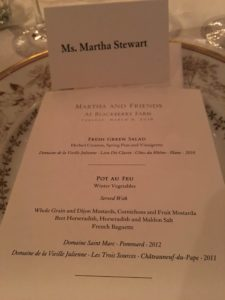 The menu included Fresh Green Salad, Pot au Feu, French Baguette and for dessert, a Citrus Sorbet with Brown Butter Shortbread.