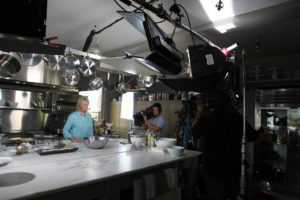 Working in my kitchen at home, was a tight squeeze for the camera crew.
