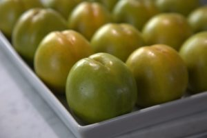 And fruit should be at its peak of ripeness, like these greengage plums.