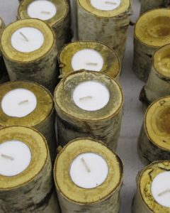Sean Ennis made these birch wood candles.