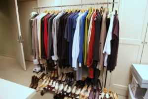 Some of my TV wardrobe organized and neatly hung