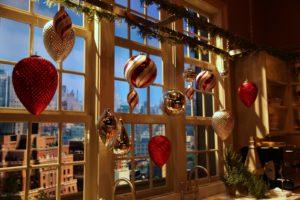 A closeup of the window ornaments