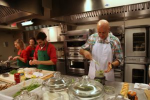 The bustling TV kitchen - Chef Pierre Schaedelin dropped in to rehearse for an upcoming segment.