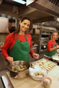 Nikki Elkins prepping for a paté segment with Molly O'Neill