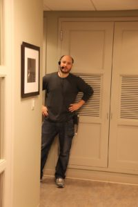 Joel Cordenner, Assistant Stage Manager, waiting to escort the special guest from the green room onto the set