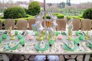 "This is the 2017 Easter ""kids table"" outside on my terrace parterre. I had a total of 28-children attend this Easter party. All the children loved the foil-covered bunnies. They all thought they were real chocolate."