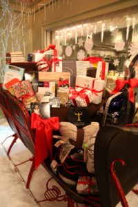 One of our holiday gift sleighs.  It's filled with wonderful items.  If you want to bid on it, visit http://www.charitybuzz.com/