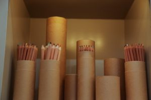 Colored pencils in the craft area