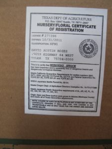 This inspection seal means that the nursery stock is apparently free of dangerous insects and dangerously contagious diseases.