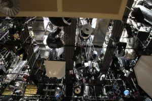 The ceiling of the studio with all of the lights and rigging