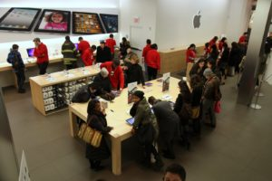 The Apple Store is set up very cleanly, with big tables displaying working models of their products.