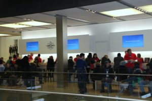 Here is the Genius Bar, where customers can make appointments to get technical support for an Apple product.