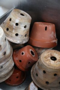 Many of my orchid pots were thrown for me by master potter, Guy Wolff.  www.guywolff.com