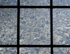 Jack Frost on the leaded glass in the parlor!