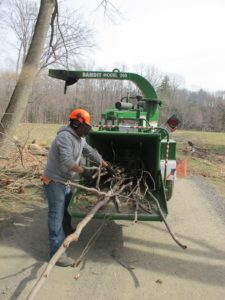 After storing the bags of horse bedding, the grounds crew resumed their chore of clearing all the winter storm damage.